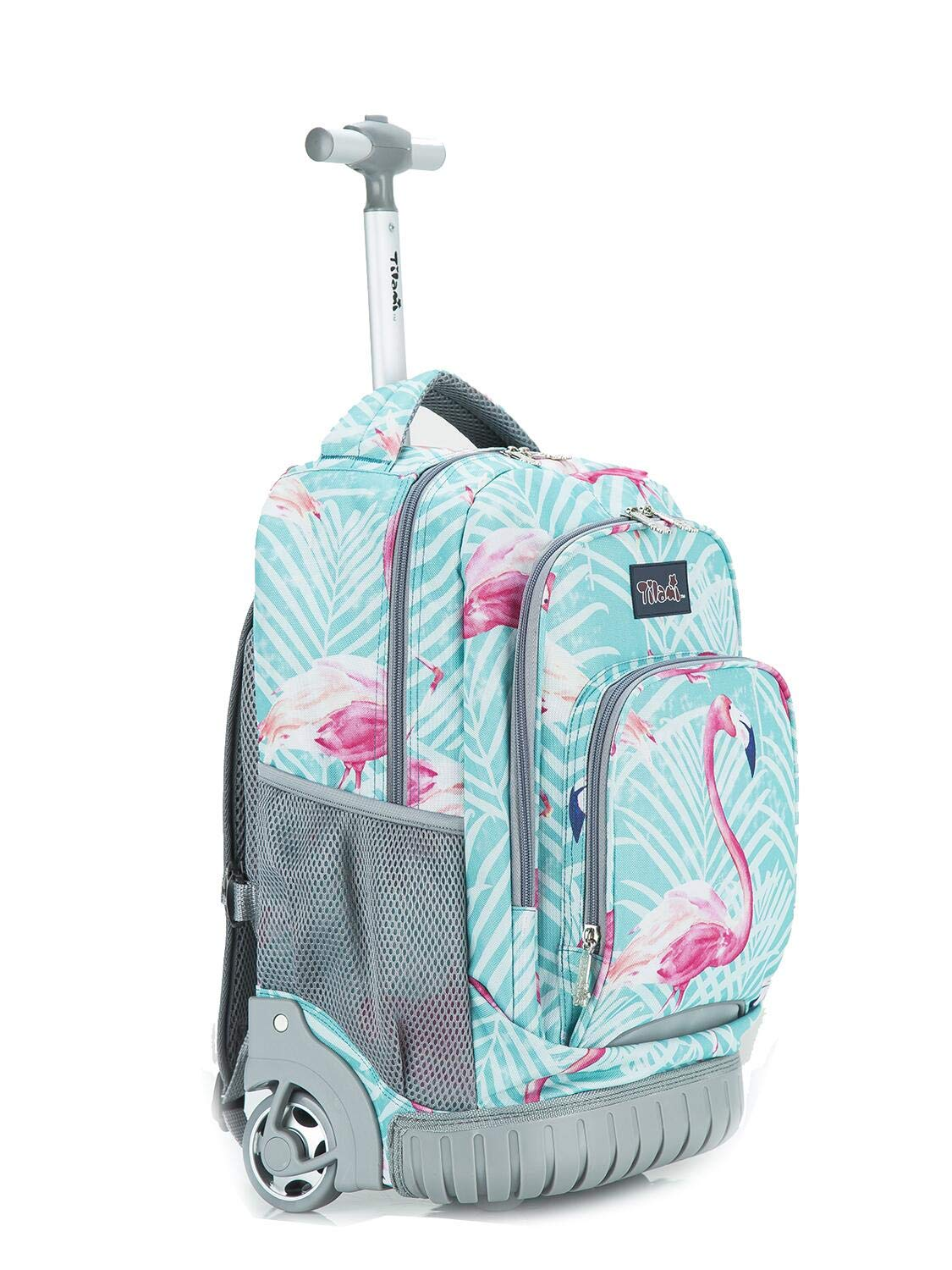 Tilami New Antifouling Design 18 Inch Oversized load multi-compartment Wheeled Rolling Backpack Luggage Kids (Flamingo) by Tilami