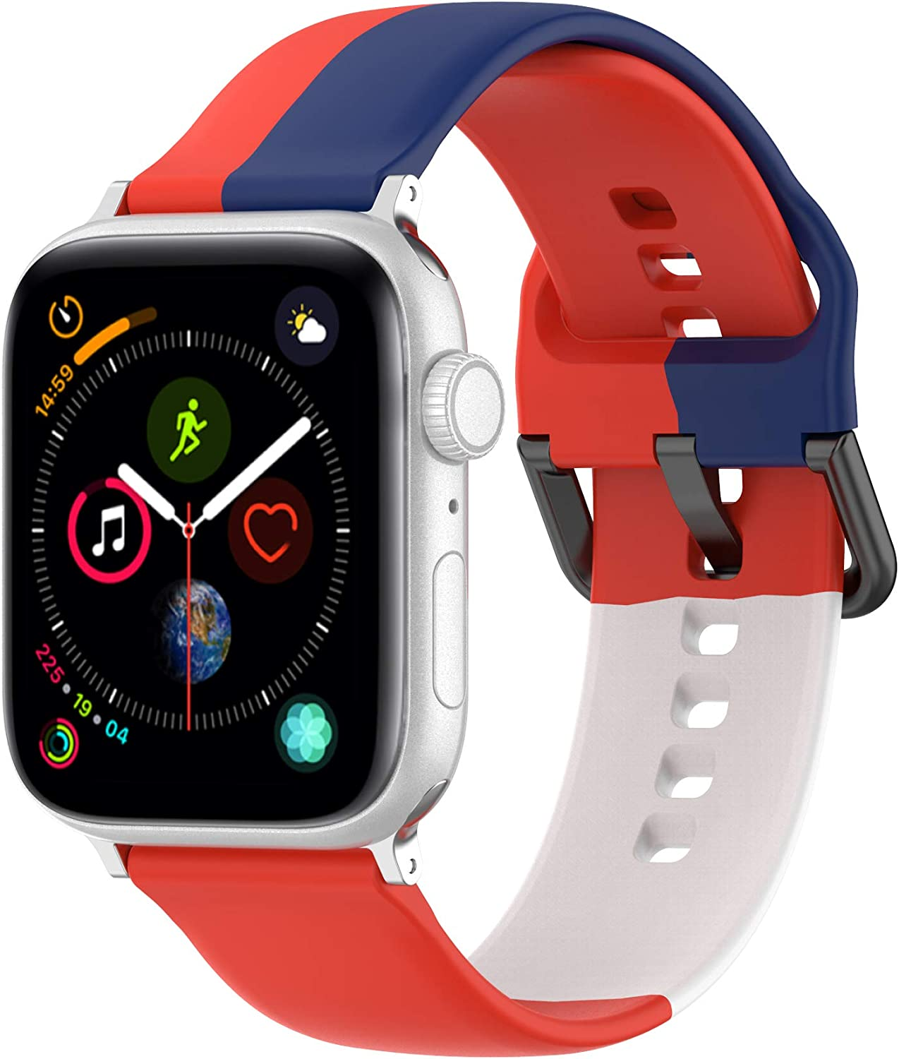 Hazevaiy colorful silicone replaceable strap compatible with apple watch Series 6 5 4 3 2 1 SE for iWatch 44mm 42mm 40mm 38mm smartwatch bands sport waterproof cute soft comfortable design