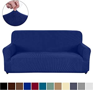 AUJOY Couch Cover Stretch 1-Piece Sofa Slipcover for 3 Cushion Couch Jacquard Spandex Fabric Furniture Protector with Anti-Slip Foams (Sofa, Navy Blue)
