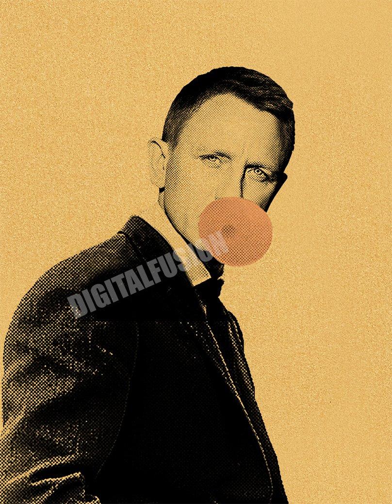 Digital Fusion Prints James Bond 007 Daniel Craig Bubblegum Poster by X-Arnet printed on an amazing Gold Metallic Paper 24 x36 Unframed