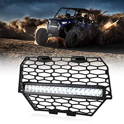 RZR Front Mesh Grill, KEMIMOTO Black Steel Mesh Grille with LED Light Bar Compatible with Polaris RZR XP 1000 Light Bar Included: Automotive