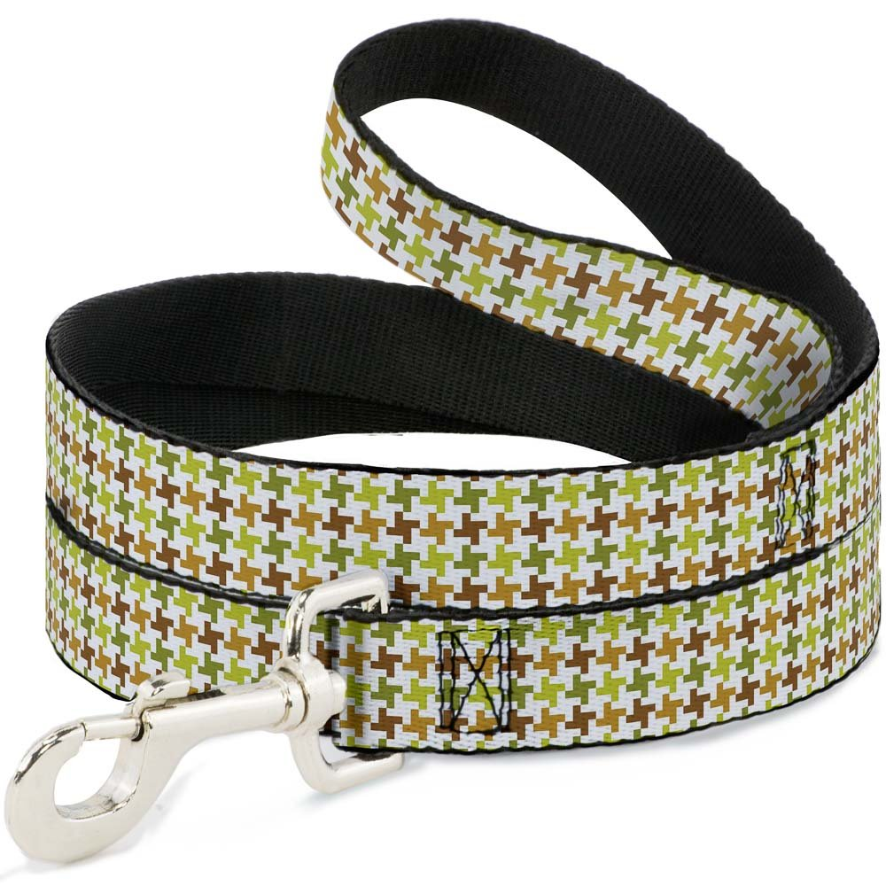 6 Feet Long 1\ Buckle-Down Pet Leash Houndstooth White Green Brown 6 Feet Long 1  Wide