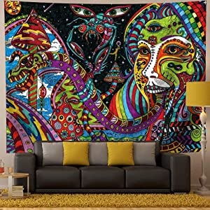 Qchengsan Psychedelic Tapestry,Trippy Tapestry Wall Hanging Surreal Abstract Tapestries Multiple Color Hippie Tapestry Mysterious Abstract Tapestry for Bedroom Living Room Decor (Y04, 59x51 inches)