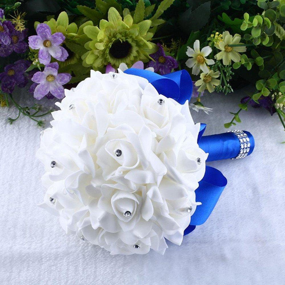 AMOFINY ホームデコレーション クリスタルローズ パール ブライズメイド ウェディングブーケ ブライダル 人工シルクフラワー ブルー AMOFINY-20436 B07Q325PM6 ブルー