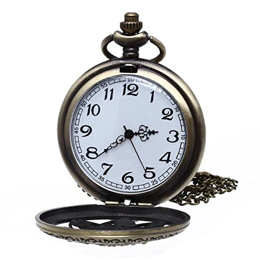 SODIAL Pocket Watch Pendant Chain Quartz Vintage Flowers Gift