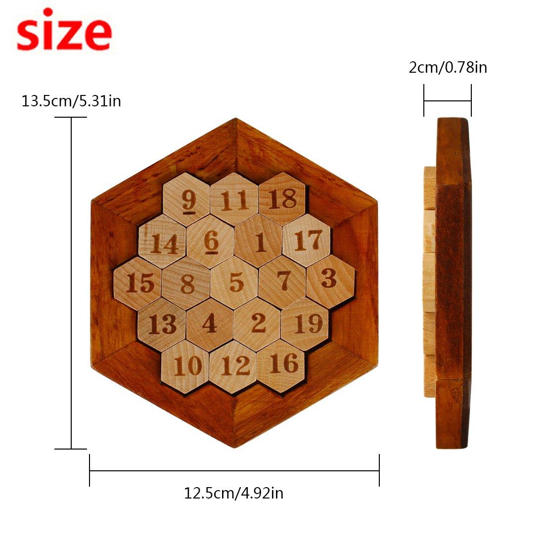 Larcele Esagono Matematico in Legno Numero di Puzzle Sudoku Gioco da Tavolo FWPP-01