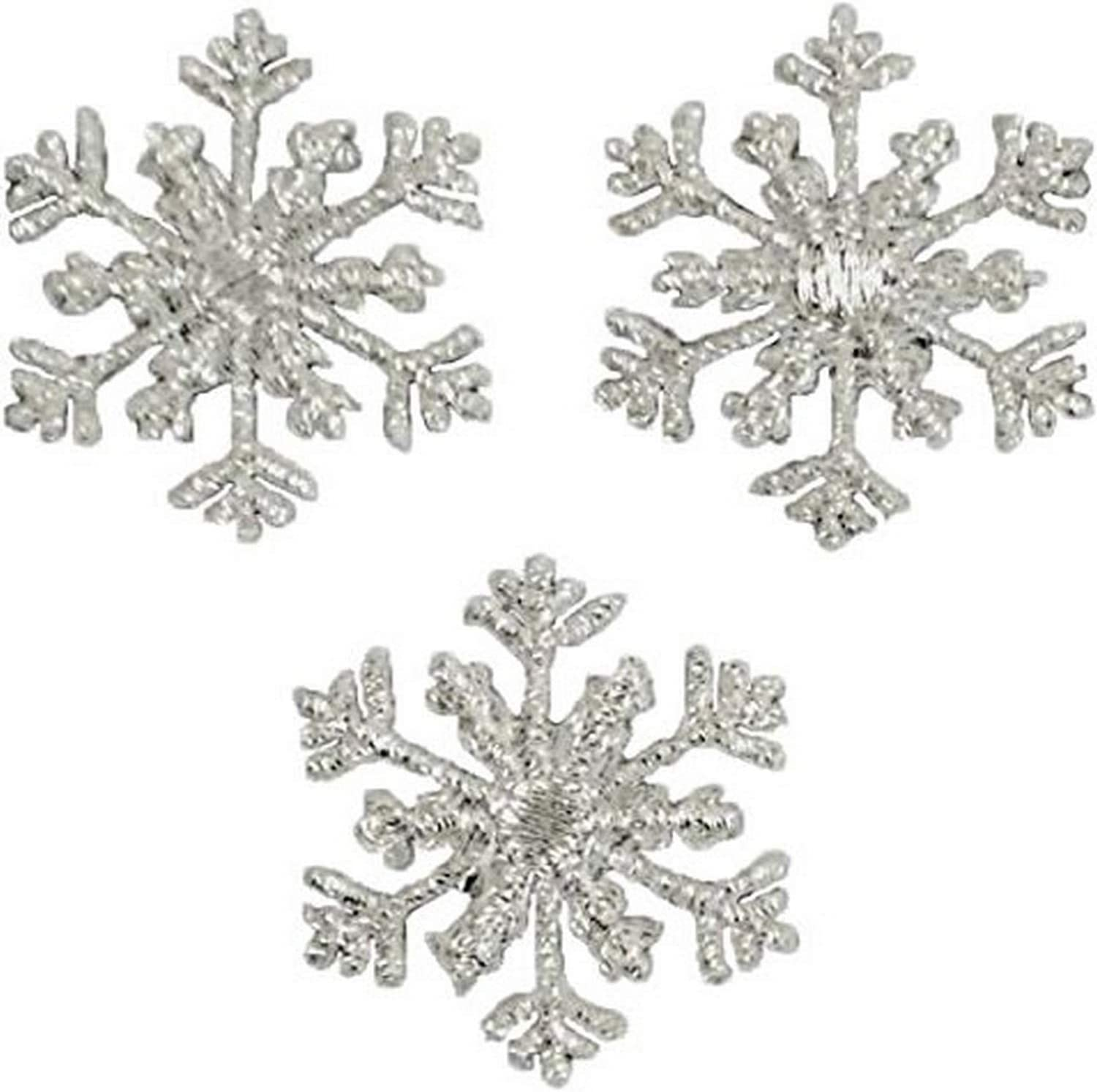 3-Pack, Medium, Iron on Silver Snowflake Applique Patch
