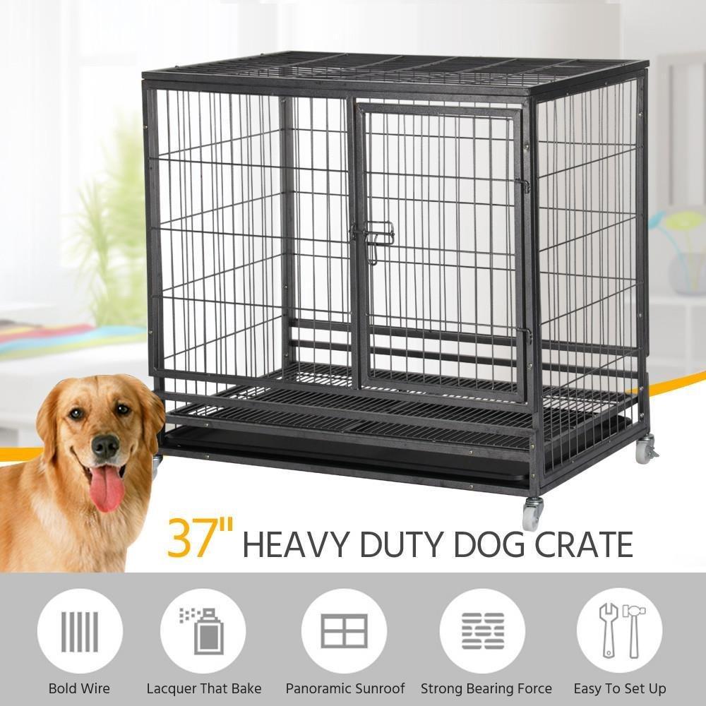 Amazon.com : Yaheetech 37\'\' Heavy Duty Dog Puppy Pet Cage Crates ...