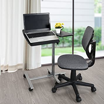 Laptop Side Table With Rolling Cart,WarmCentre 360 Degree Swivel Laptop  Stand Height Adjustable