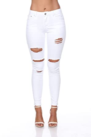 8cd996e6ba2a Ci Sono Womens Ripped Distressed Destroyed Slim Skinny Stretch Fit 1-13 White  Jeans (