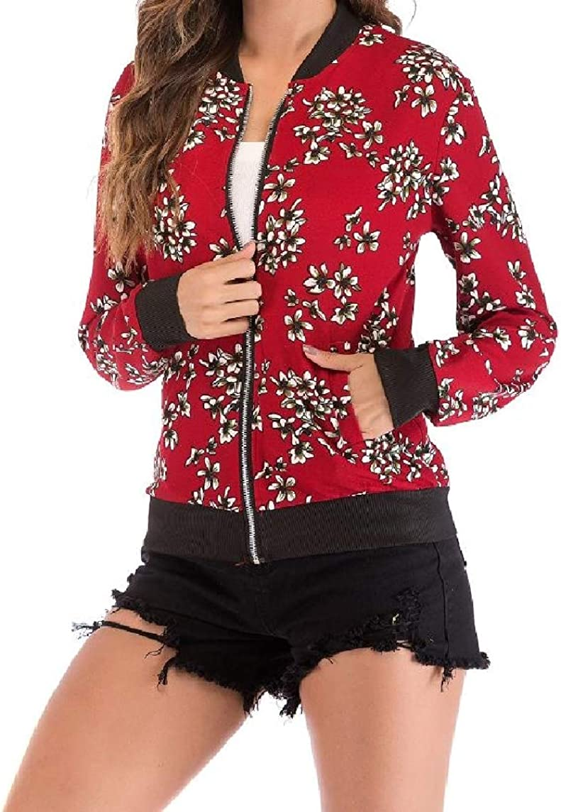 KaWaYi Women Baseball Stand Collar Zip Up Long Sleeve Floral Print Trench Coat