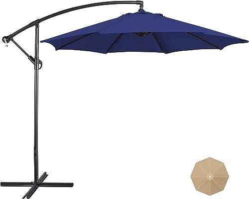 YAHEETECH 9FT Patio Offset Umbrella Cantilever Umbrella Hanging Market Umbrella Outdoor Table Umbrella 8 Ribs