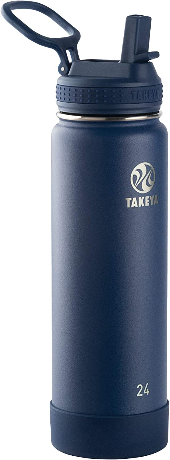 Takeya 51229 Actives Insulated Stainless Steel Water Bottle with Straw Lid, 24 Ounce, Midnight