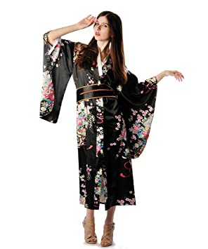 Shanghai Tone® Kimono Túnica Yukata Japonesa de lujo Vestido Negro con Obi Talla Única