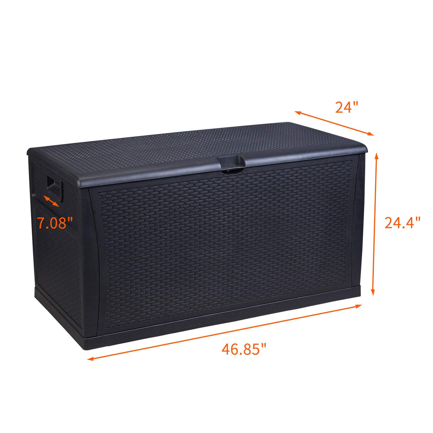 HYD-Parts Black Patio Storage Bench Indoor Outdoor Deck Box, Garden Storage Plastic Container Bench Box 120 Gallon