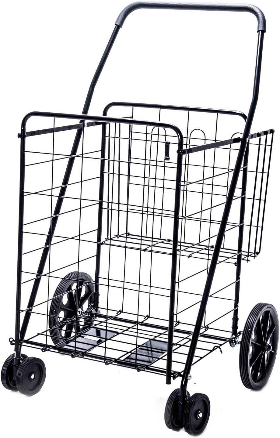 Lifestyle Solutions - Jumbo Deluxe Folding Shopping Cart with Dual Swivel Wheels and Double Basket- 200 lb capacity!