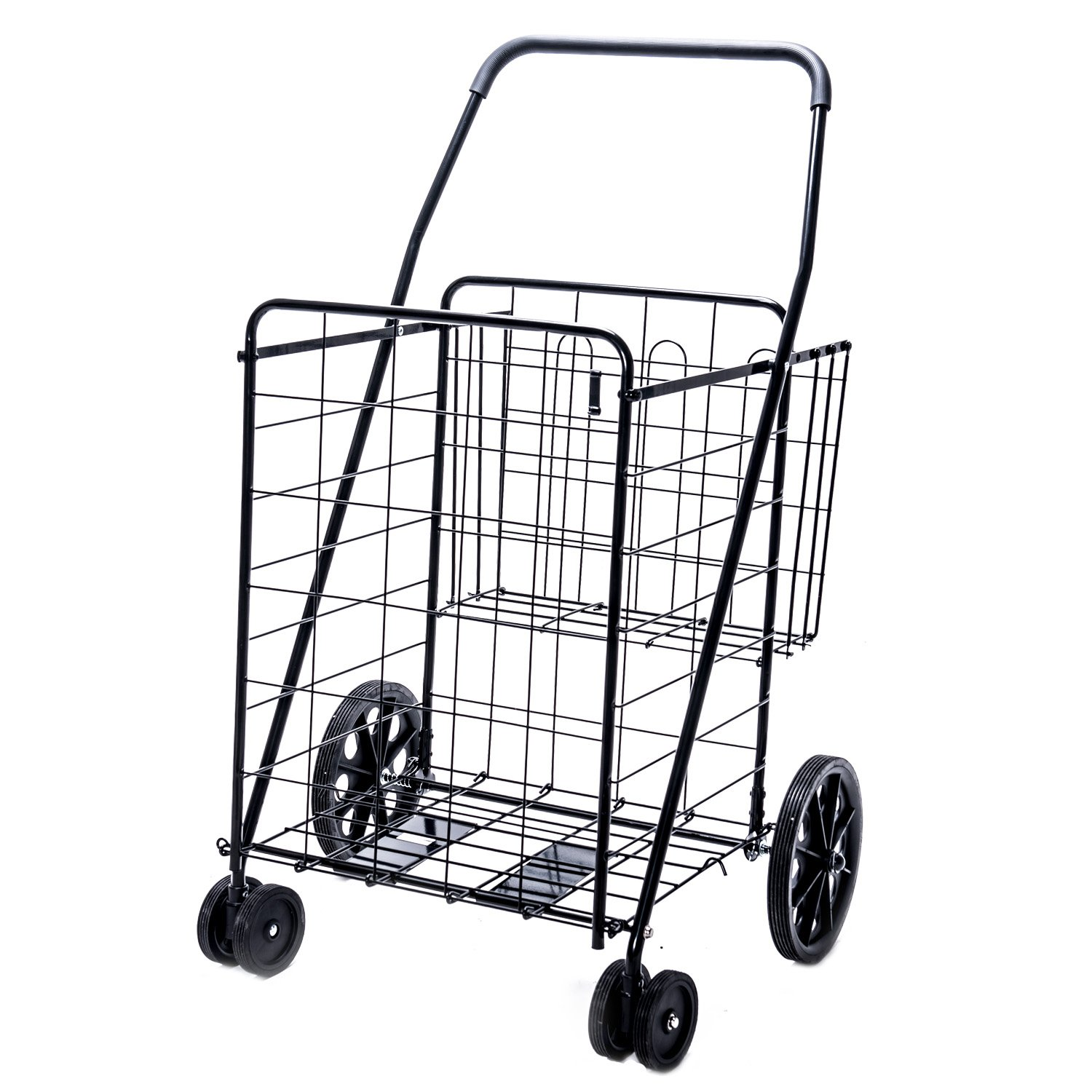Lifestyle Solutions - Jumbo Deluxe Folding Shopping Cart with Dual Swivel Wheels and Double Basket- 200 lb capacity! by LS
