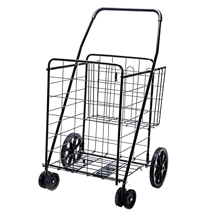 Amazon Com Jumbo Deluxe Folding Shopping Cart With Dual Swivel Wheels And Double Basket  Lb Capacity Utility Carts Office Products