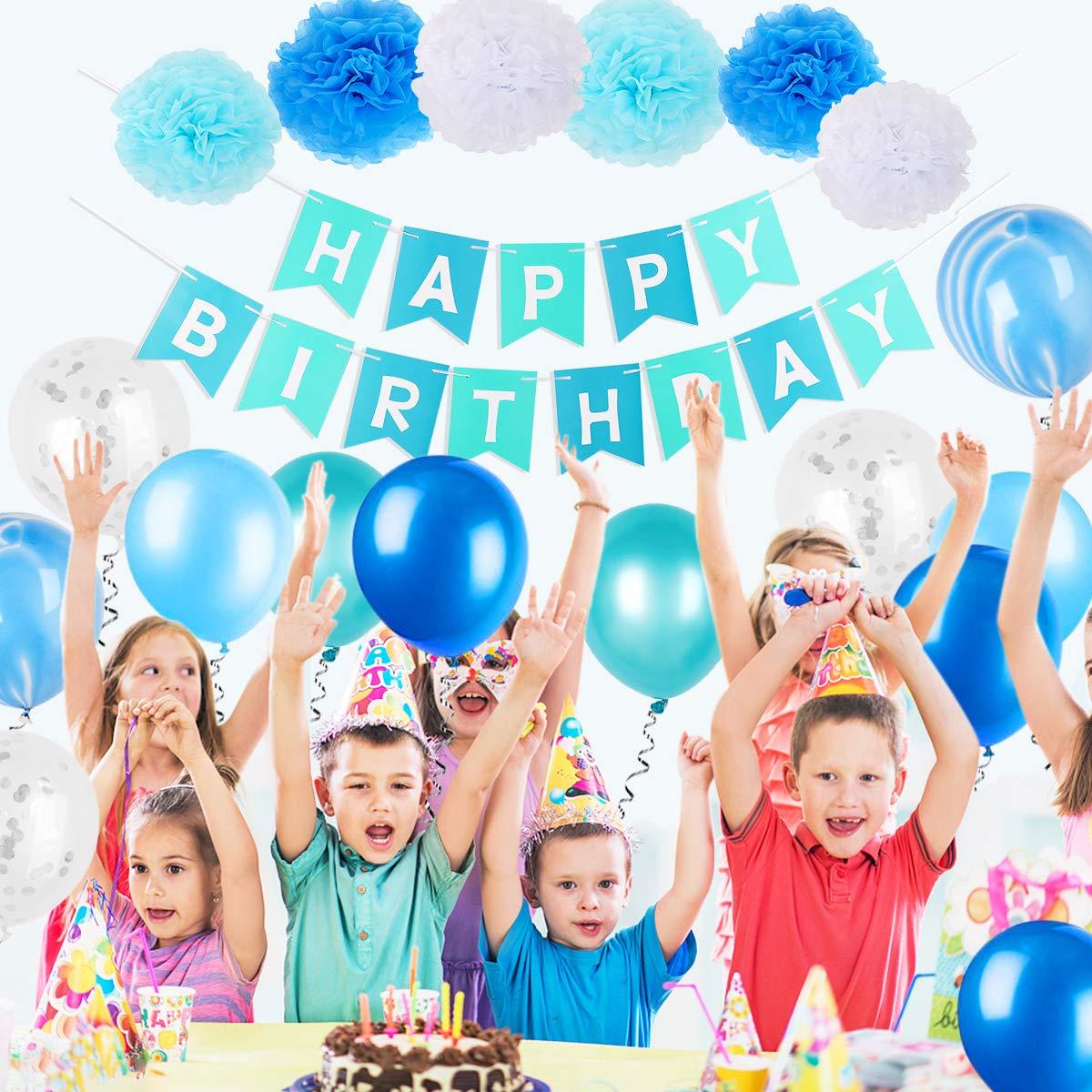FATPET Blue Birthday Decorations Party Supplies Boy Decoration 1st Happy Banner