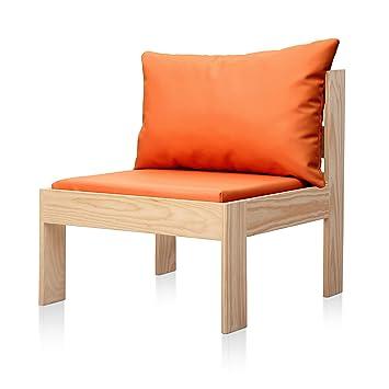 SUENOSZZZ - Sofa Jardin de Madera de Pino Color Natural, MEDITERRANEO Mod. Respaldo, Sillon cojín Polipiel Color Naranja. Muebles Jardin Exterior. ...