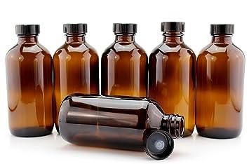 3ba74d5e7d7f 8-Ounce Amber Glass Bottles (6-Pack); Boston Round Bottles w/Polycone  Phenolic Caps