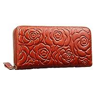 Heshe Women Rose Pattern Zipper Around Organizer Clutch Card Case Holder Money Clip Long Wallet