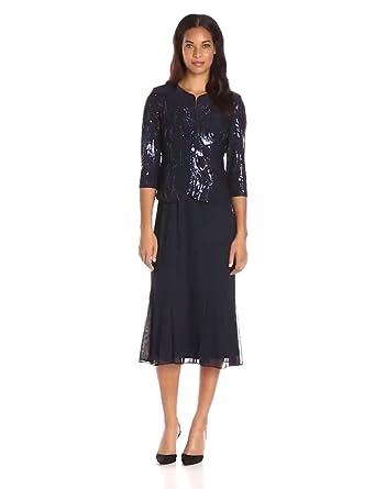 2b1452015f759 Alex Evenings Women's Tea Length Mock Dress with Sequin Jacket (Petite and  Regular Sizes)