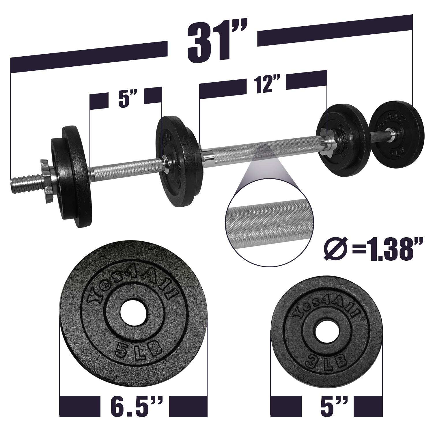 Yes4All Adjustable Dumbbell Set with Dumbbell Connector – 40 lbs Dumbbell Weights (Pair) by Yes4All (Image #2)