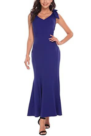 Meaneor Womens Evening Gowns Dress Cocktail Sleeveless Empire V Neck Fishtail Sexy Maxi Dress