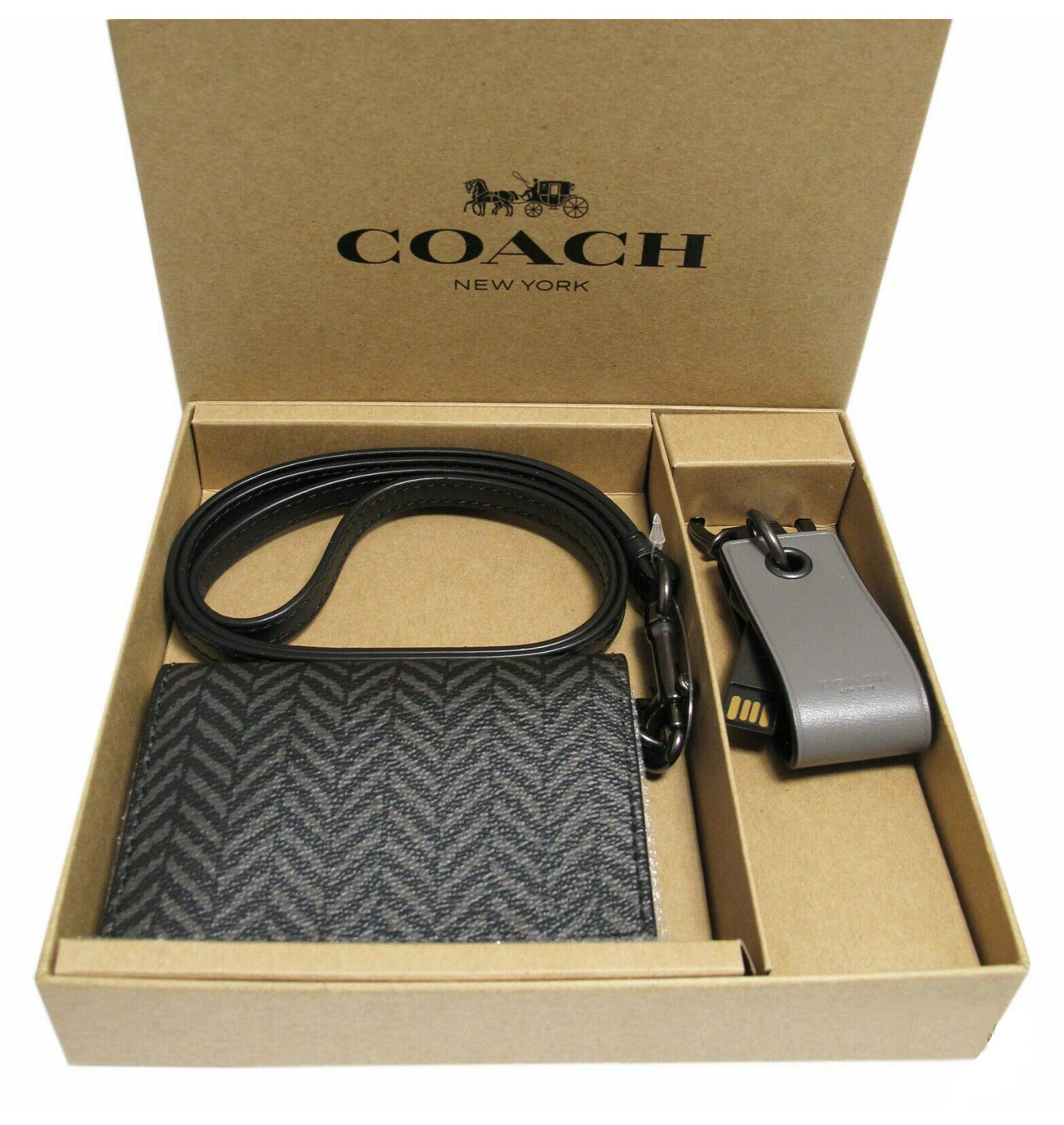 Coach Men's Boxed Lanyard ID/Card Case & 8 GB Flash Drive Keychain - #F73135 by Coach