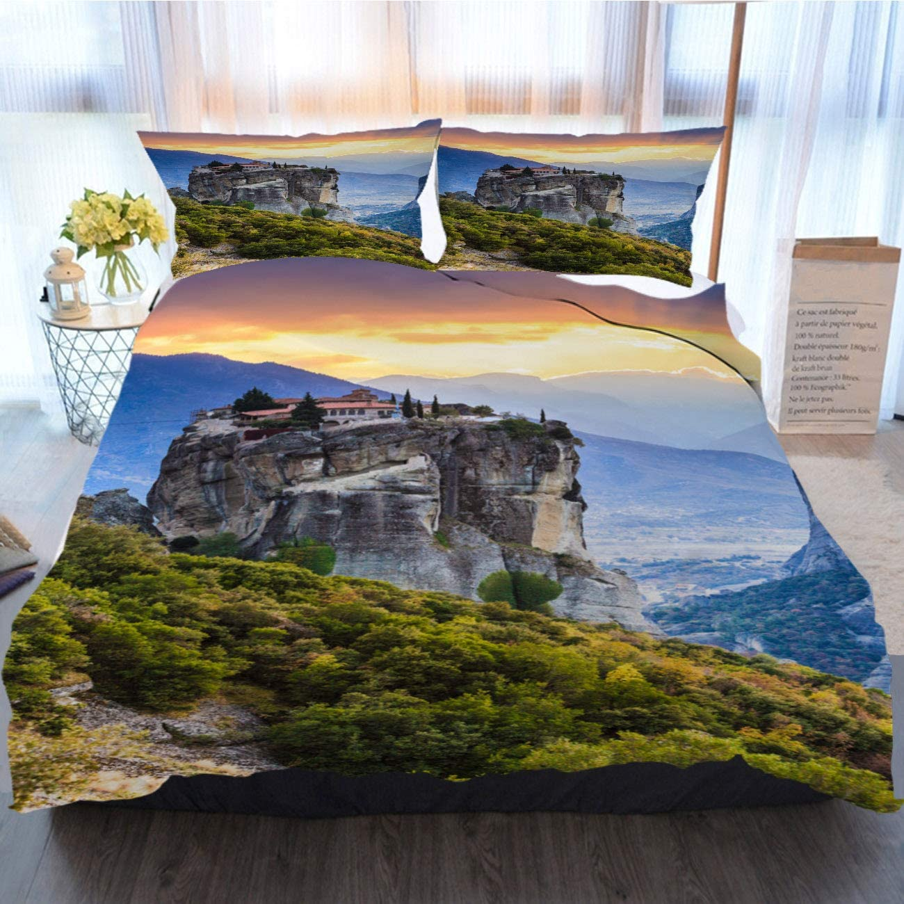 Christmas Bedding 3 Piece Duvet Cover Sets Monastery of The Holy I in Meteora Greece Home Luxury Soft Duvet Comforter Cover,Gal King
