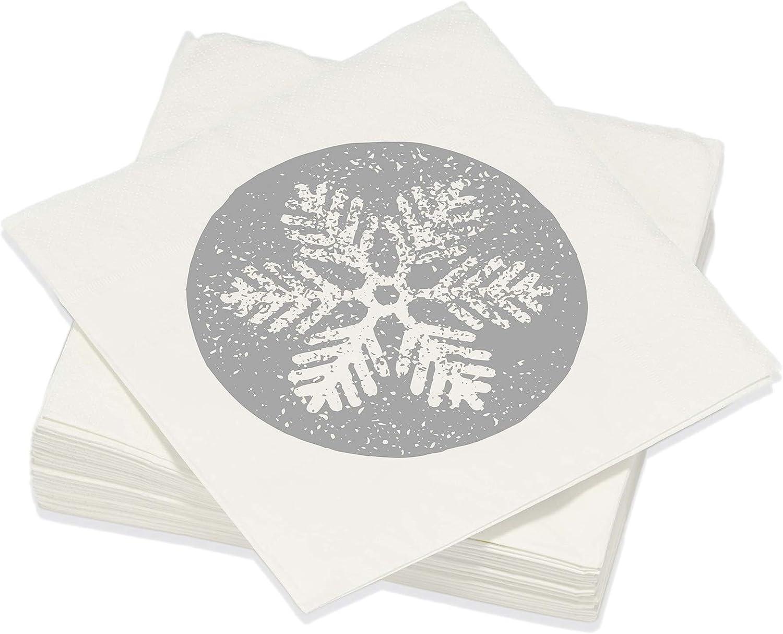 Le Nappage - Servilletas decoradas estampadas en plata de escamas - Servilletas de papel en pura guata de celulosa - Decorados copos de nieve de Navidad - Juego de 20 servilletas Formato 33 x 33 cm