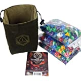 """Third Die Dice Bag - Very Large """"Bag of Hoarding"""" - Will Hold 450 Dice - Handcrafted and Reversible Drawstring Bag That Stands Open On The Table - For All Your Gaming Needs - Deep Green and Moss"""