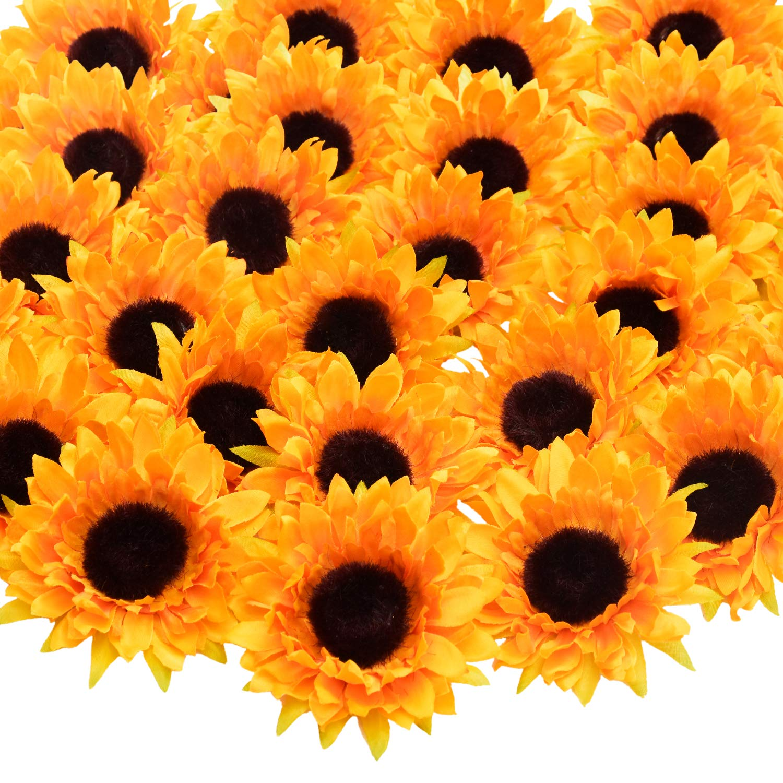 "Artificial Sunflower Heads, 24 Pcs Silk Faux Sunflowers Yellow Gerber Daisies for DIY Wedding Fall Autumn Party Cupcake Hair Clip Wreath Topper Decoration, 3.54"""