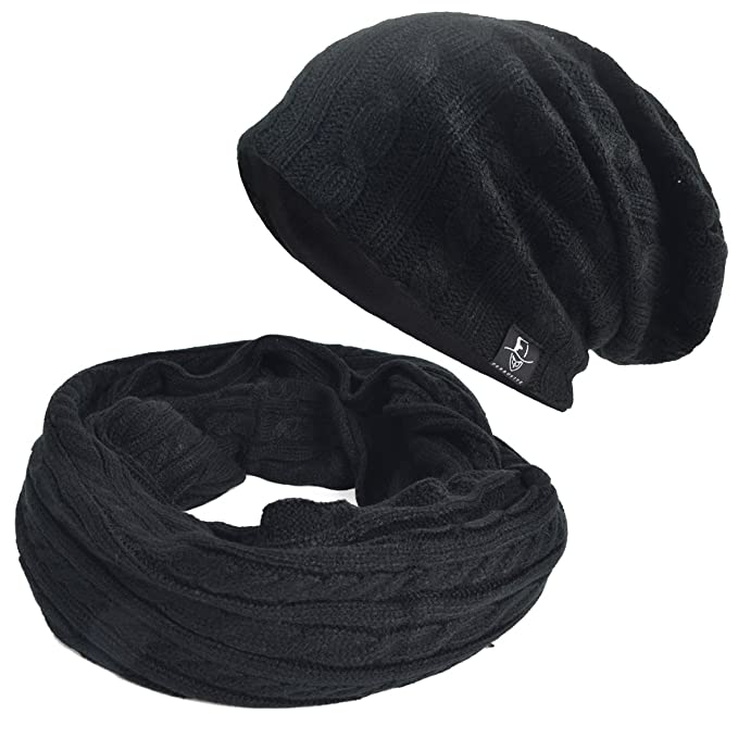 e6ba39f5265 Cable Soft Knitted Winter Infinity Scarf Slouchy Beanie Hat Set (Black)