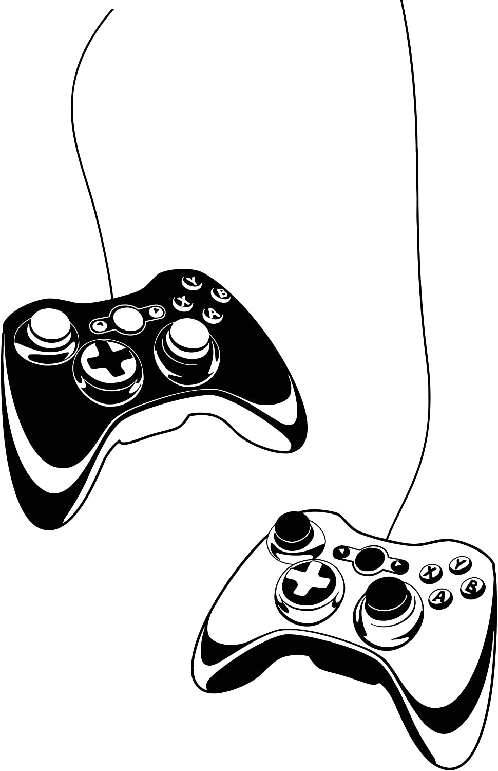 Wall Decal Gamer Gaming Joystick Vinyl Art Kids Room Large Decor z4909 (28 in X 43 in)