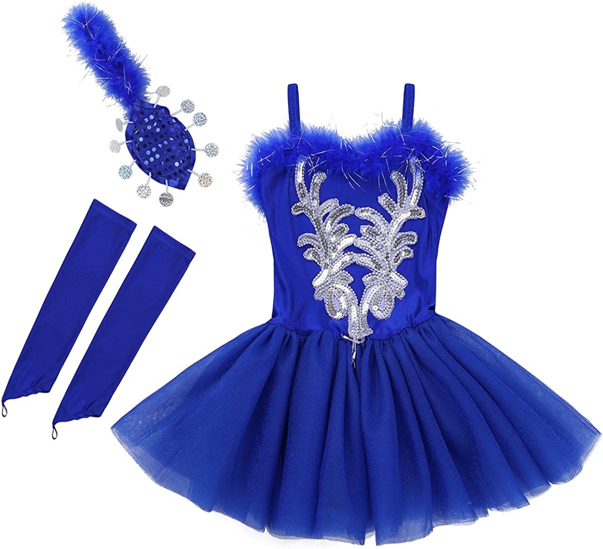 Freebily Vestito Tutu Bambina Ballerina Costume Carnevale Principessa Abito Danza Classica con Piume Vestito Pattinaggio Artistico Lago dei Cigni Halloween