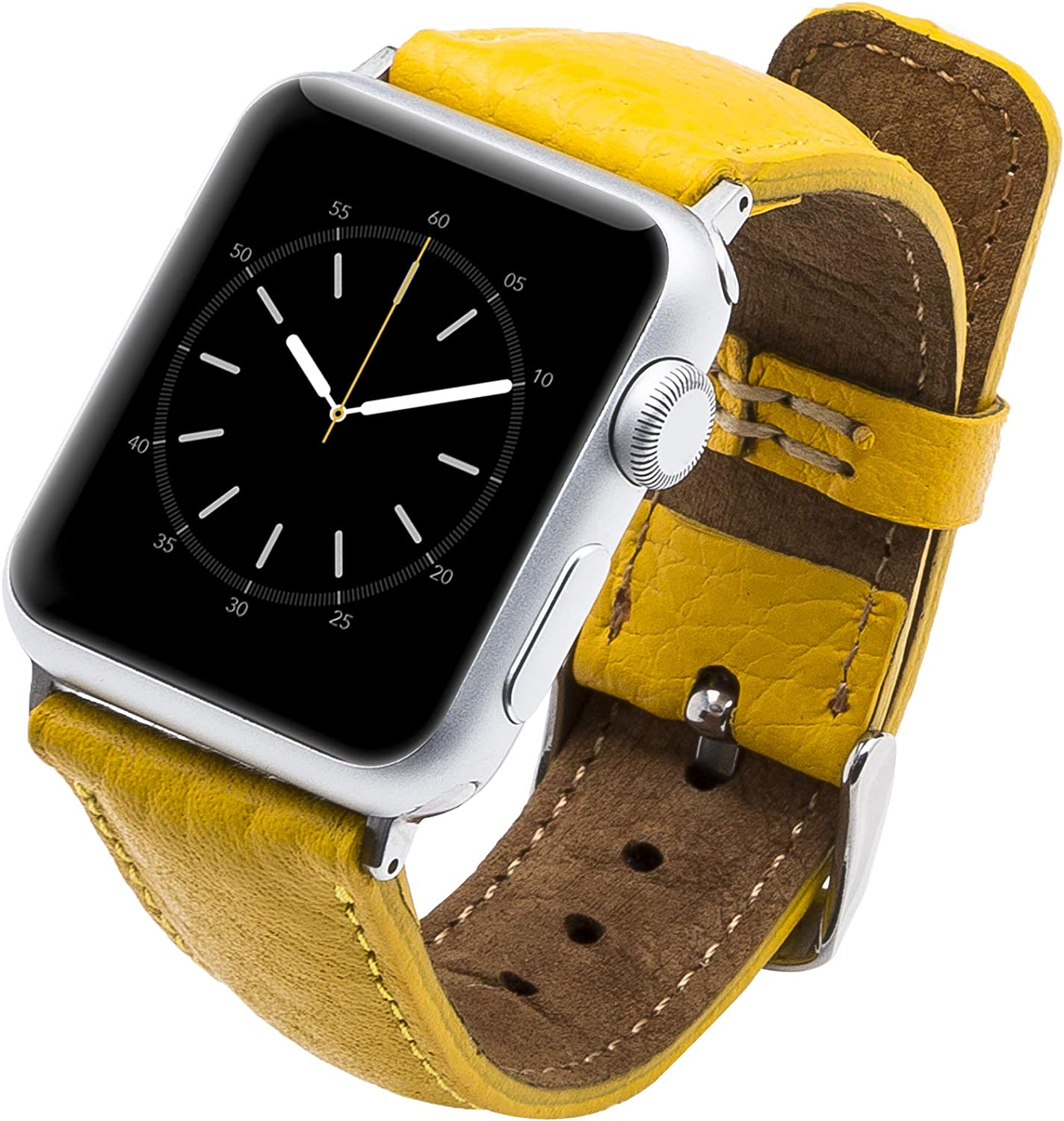 Venito Tuscany Leather Watch Band Compatible with Apple Watch 38mm 40mm - Watch Strap Designed for iwatch Series 1 2 3 4 5 6 (Yellow w/Black Connector & Clasp)