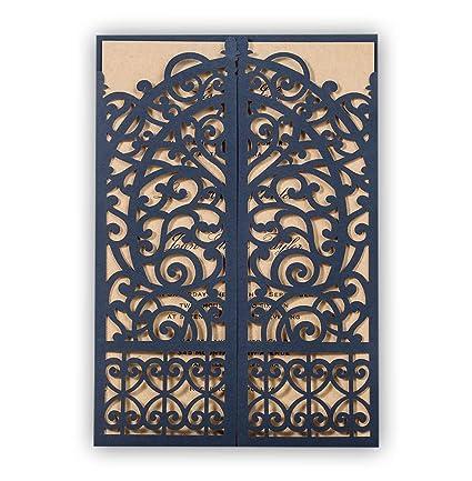 amazon com 50x wishmade blue laser cut gate fold invites