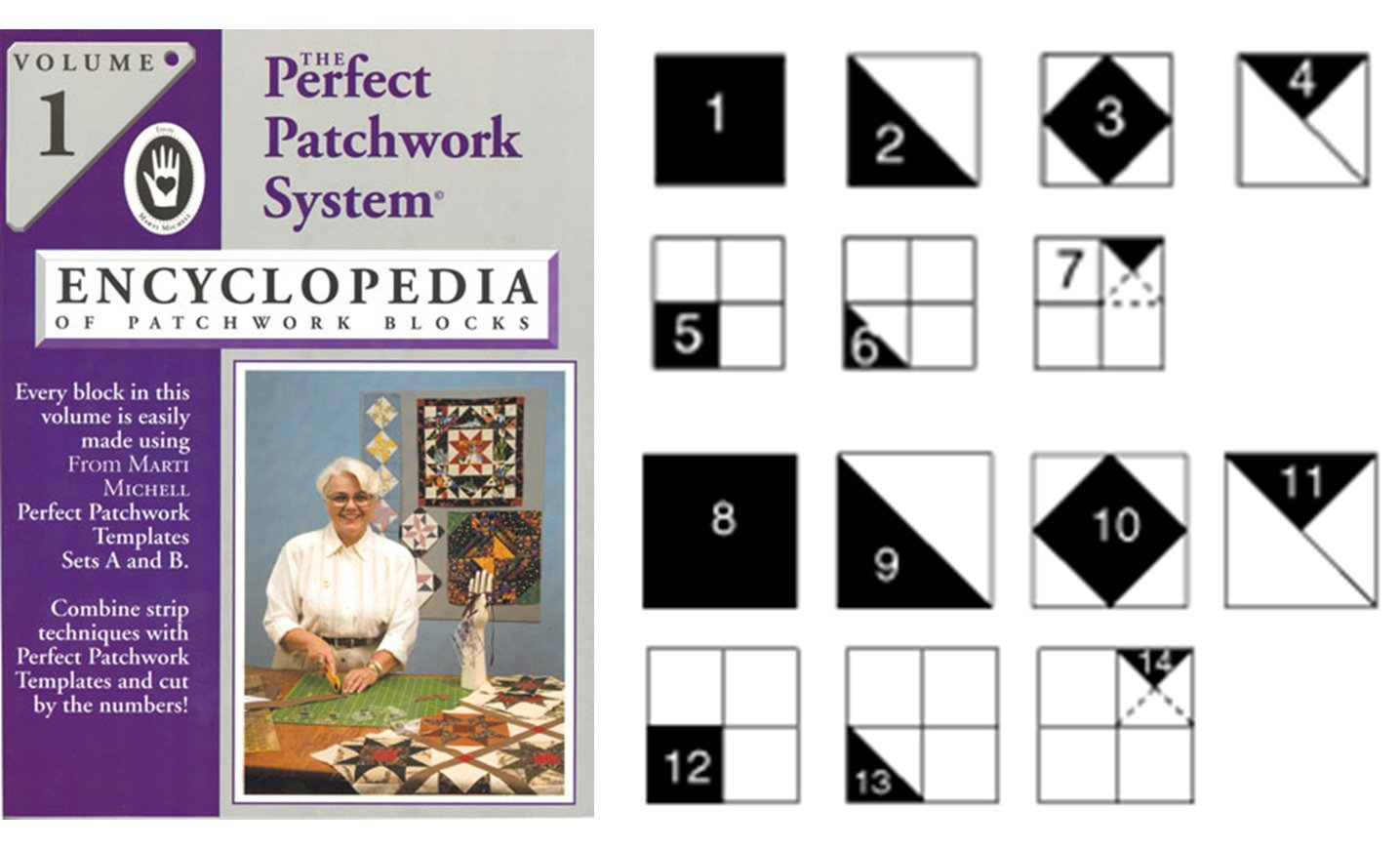 Marti Michell Quilting Template Set for Perfect Patchwork Quilt Blocks, 3 Items: Volume 1 Quilting Book, Template Sets A and B by Marti Michell