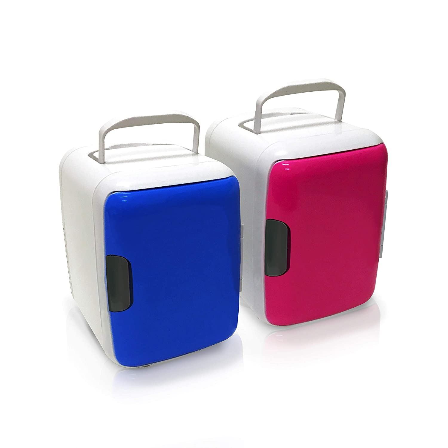 Set Of 2 Portable Mini Cooler Fridge Color Blue & Pink | Cooler For Your Car Or Home With Internal Electric Inverter For Ac-dc Use | Your Personal Small Refrigerator For Cans Comes With 12v Cigar Powe