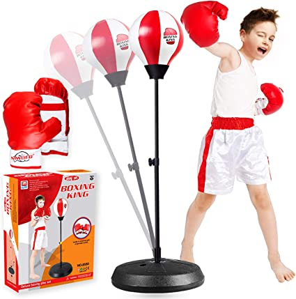 Adjustable Height Children Red Boxing Sports Set with Gloves Punching Ball Kids