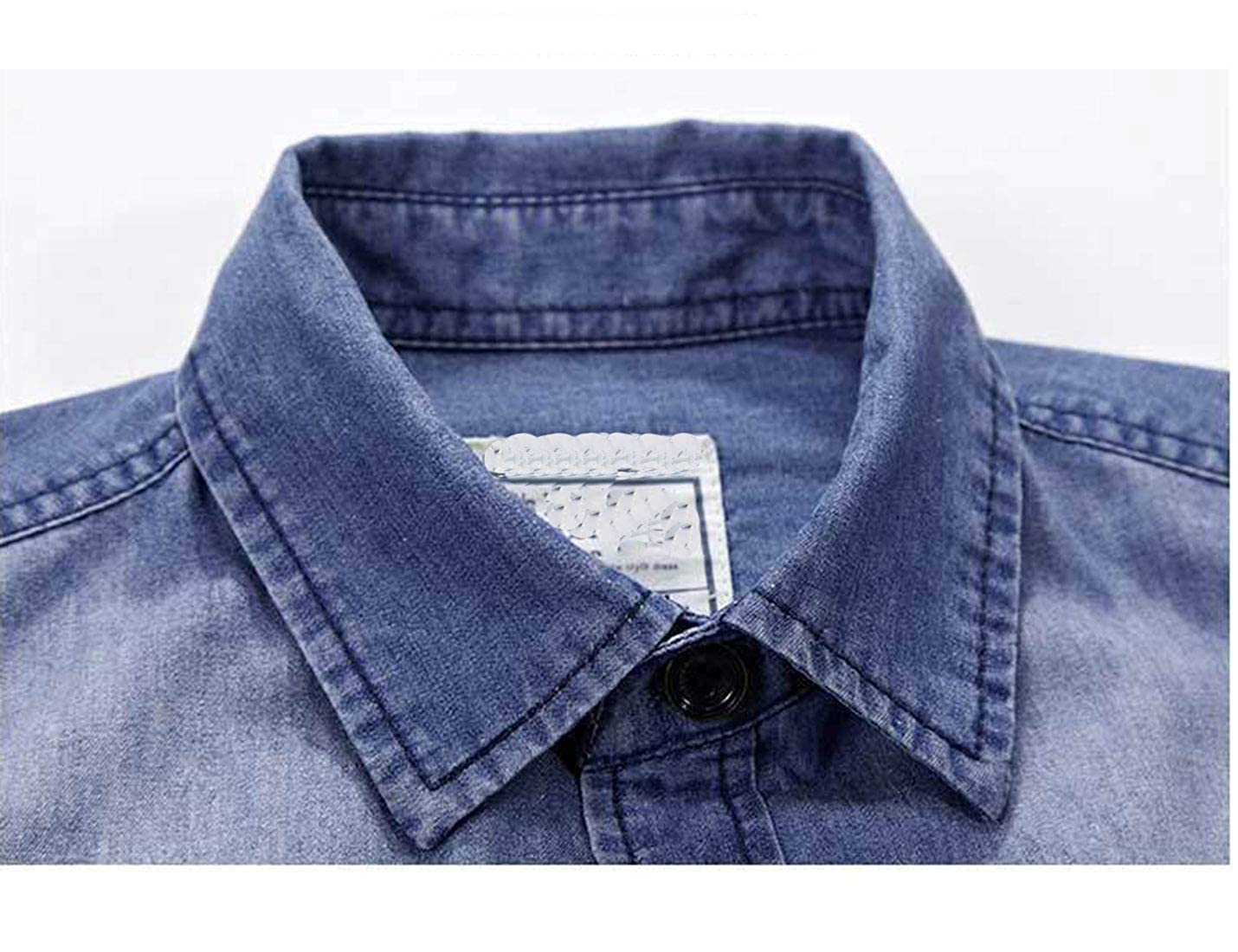 Omoone Mens Classic Long Sleeve Ruged Wear Washed Western Denim Shirt Tops