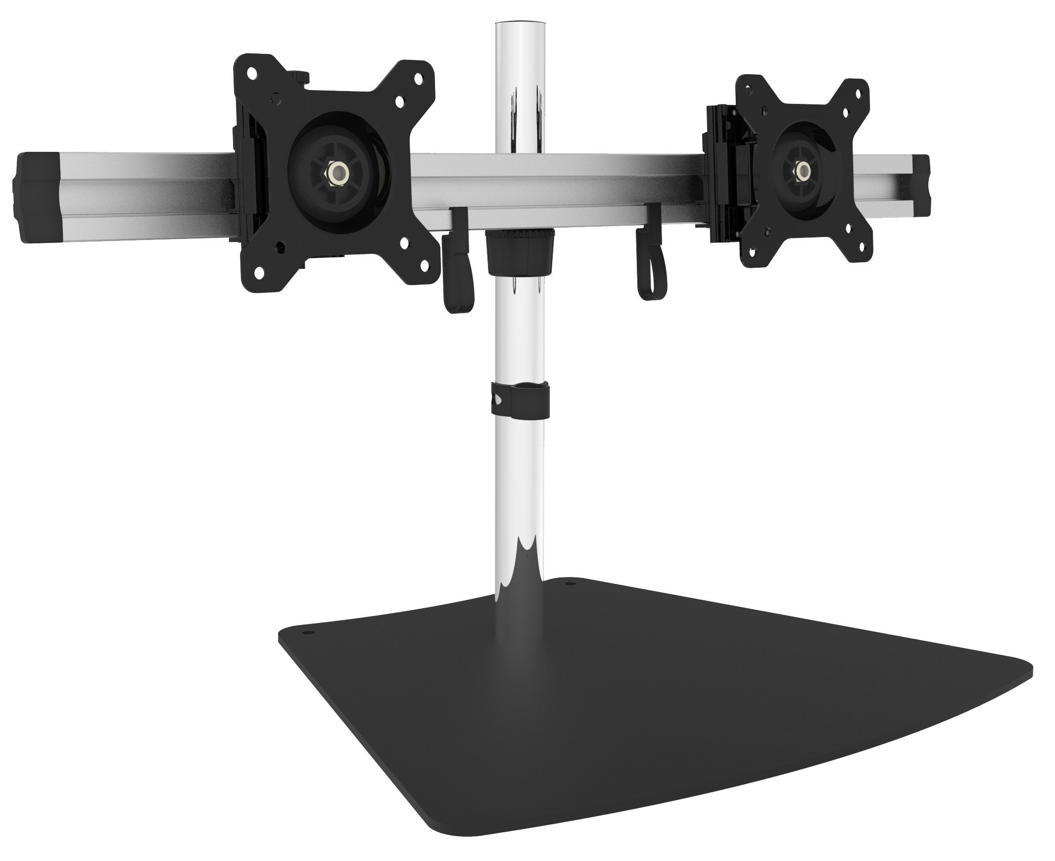 SIIG Premium Aluminum Dual Monitor Stand - 2 Monitors 13'' to 27'' Up To 17.6 lbs VESA 75 and 100 (CE-MT2011-S1) by SIIG