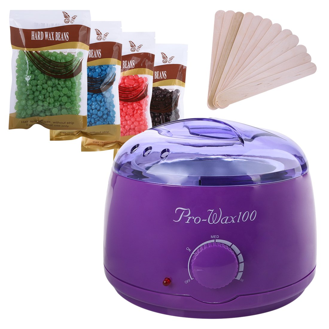 Complete Waxing Kit Heater Wax Pot Hair Removal Hot Wax Bean Stick Machine Kit With Wax Beans + Sticks (Purple)