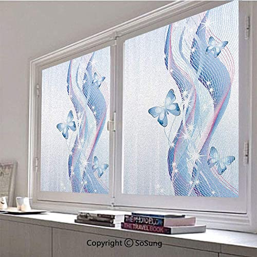 30×42 inch Window Privacy Film,Fantastic Abstract Composition with Waves Stripes and Magic Butterflies Non-Adhesive Static Cling Frosted Window Film,Window Stickers for Kids Home Office