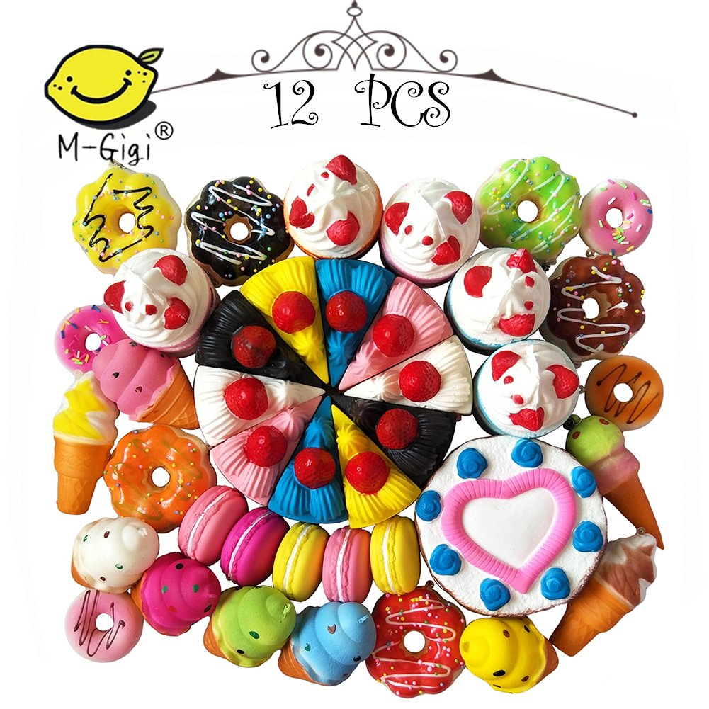 SQUISHIES Value Packs in Great Gift Worthy Packaging - Jumbo Slow Rising Kawaii Squishies Plus Mini Squishy Toy Keychains & Bonus Sample Pack! Comes in Mix, Foodie and Dessert (Cake, Donuts) 12PCS