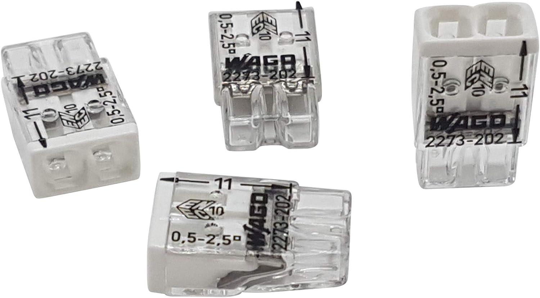 2-polig 20 Stück Wago 2273-202 COMPACT-Verbindungsdosenklemme Ø 0,5-2,5 mm²