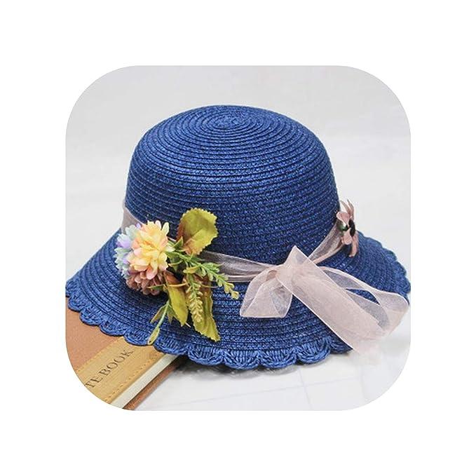 262c96d33 Summer Tea Party Hats Women Floppy Foldable Cap Flowers Beach Straw ...