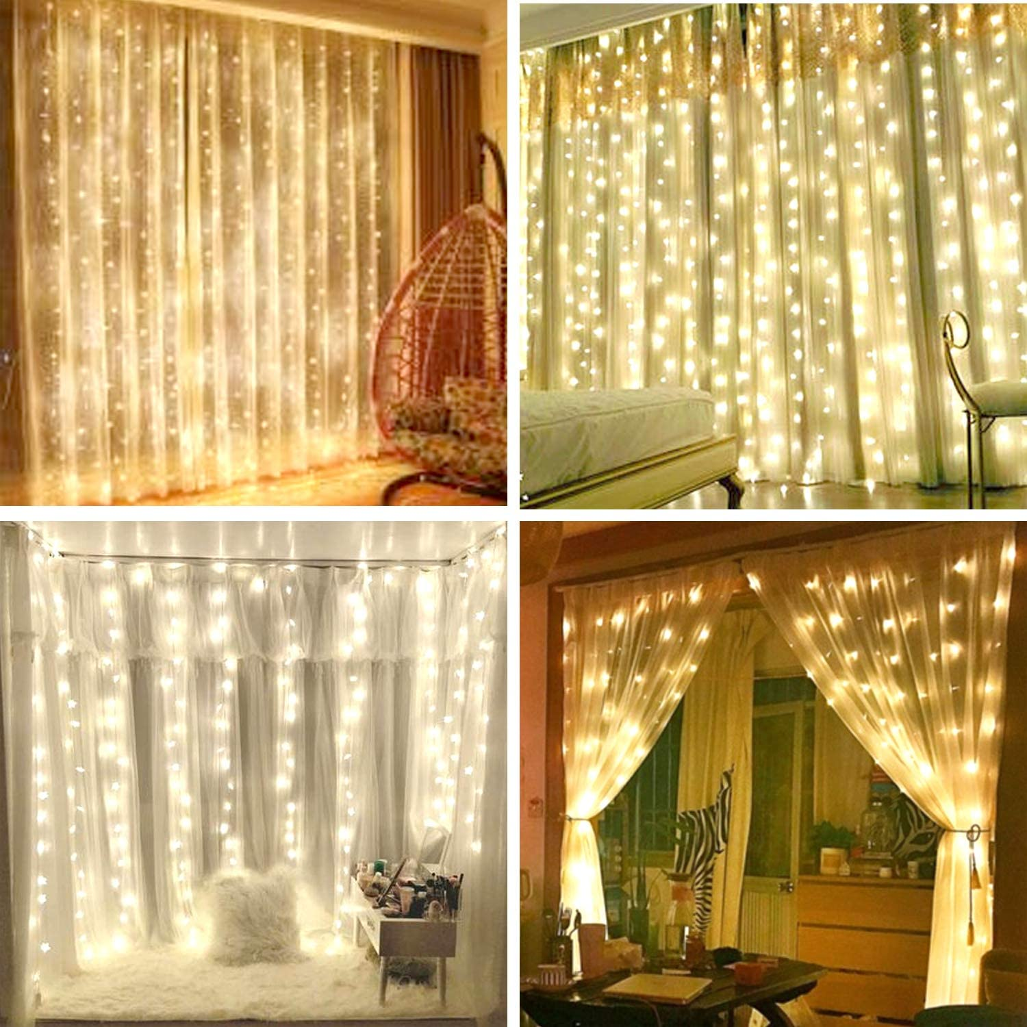 Curtain Light,8 Modes Lighting LED String Lights Remote Control USB Powered Waterproof for Christmas Bedroom Party Wedding Home Garden Decorations(Warm White) (9.8ft X 6.5ft) Curtain is NOT included.